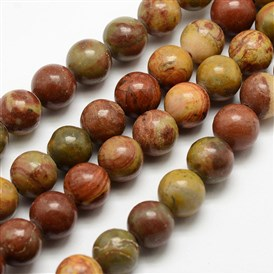Natural Red Rainbow Jasper Beads Strands, Round