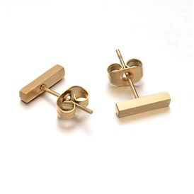 Cuboid 304 Stainless Steel Stud Earrings
