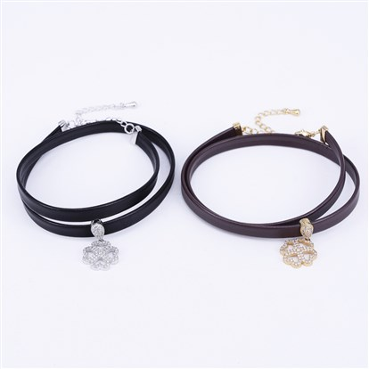 PU Leather Cord Choker Necklaces, with Brass Micro Pave Cubic Zirconia Pendants and Lobster Claw Clasps, Clover
