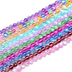 Mixed Color Synthetic Moonstone Beads Strands, Holographic Beads, Dyed, Frosted, Round, Mixed Color, 8mm, Hole: 1mm; about 48pcs/strand, 15.3""
