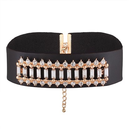 PU Leather Choker Necklaces, with Alloy and Rhinestone-1