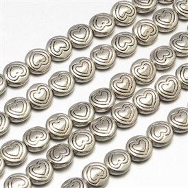 Tibetan Style Flat Round with Heart Alloy Bead Strands, Lead Free & Cadmium Free & Nickel Free, 6.5x3mm, Hole: 1mm; about 33pcs/strand, 8""