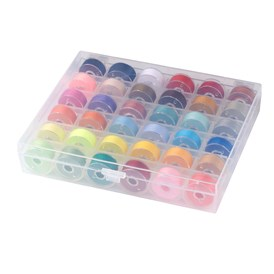 402 Polyester Sewing Thread, Plastic Bobbins and Clear Box