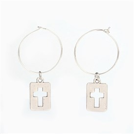 Tibetan Style Alloy Wine Glass Charms Hoop Earrings, with Brass Rings, Rectangle with Cross