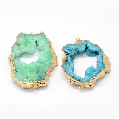Electroplated Natural & Dyed Druzy Agate Links, with Golden Plated Brass Findings, Nuggets-1