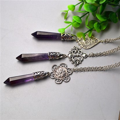 DIY Necklace Kits, Amethyst Gemstone Pointed Pendant Necklaces-1