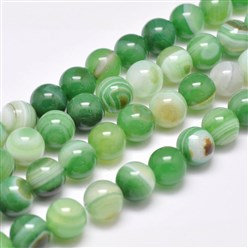 "SpringGreen Natural Striped Agate/Banded Agate Bead Strands, Dyed & Heated, Round, Grade A, SpringGreen, 14mm, Hole: 2mm; about 28pcs/strand, 14.9""(380mm)"