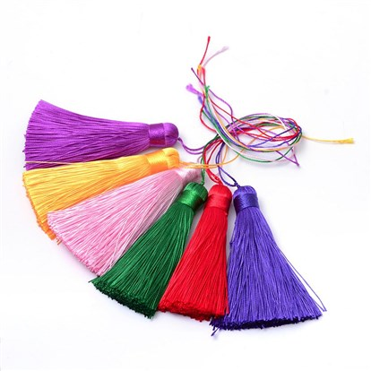 Polyester Tassel Pendant Decorations, 77~81x12~13mm-1