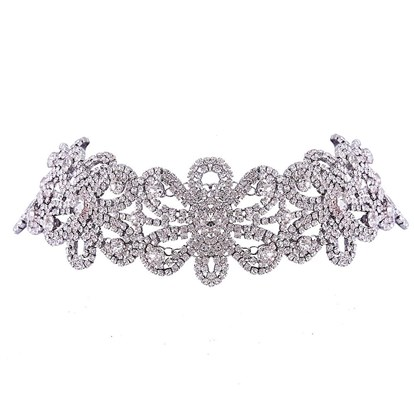 "Dazzling Flower Alloy Choker Necklaces, with Rhinestone, 15.7""-1"