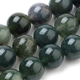 Natural Moss Agate Beads Strands, Round