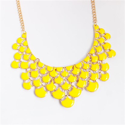 Alloy Bib Necklaces, with Enamel Scale, Golden-1