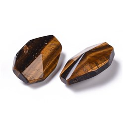 Tiger Eye Natural Tiger Eye Pendants, Facted, Teardrop, 36~37.5x23~24x14~15.5mm, Hole: 1.8mm