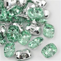 PaleGreen Taiwan Acrylic Rhinestone Buttons, Faceted, 1-Hole, Rectangle, PaleGreen, 30x21x10.5mm, Hole: 2mm