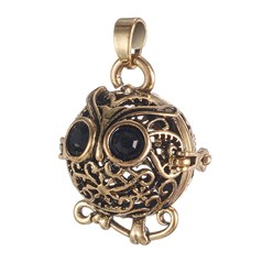 Antique Golden Environmental Brass Cage Pendants, For Chime Ball Pendant Necklaces Making, with Jet Grade A Rhinestone, Cadmium Free & Nickel Free & Lead Free, Hollow Owl, Antique Golden, 22x19x16mm, Hole: 3x4mm; Inner Diameter: 13mm