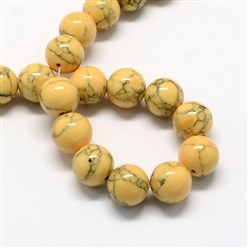 Gold Dyed Synthetic Turquoise Gemstone Bead Strands, Round, Gold, 6mm, Hole: 1mm; about 66pcs/strand, 15.7""