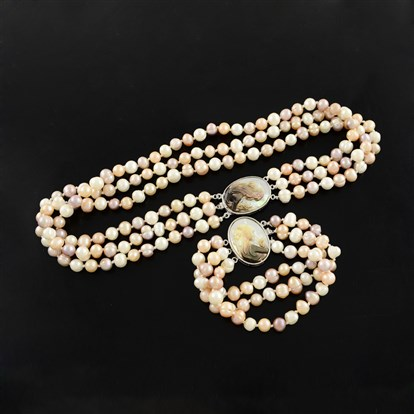 "Natural Pearl Jewelry Sets, Necklaces and Bracelets, with Shell Statue Girl and Brass Oval Box Clasps, Multi-strand, 18.1"", 210mm"