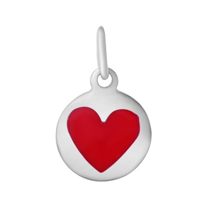 304 Stainless Steel Enamel Pendants, with Jump Ring, Flat Round with Heart-1