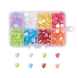 8 Colors Environmental Transparent Poly Styrene Acrylic Beads, Heart, Dyed, AB Color, Mixed Color