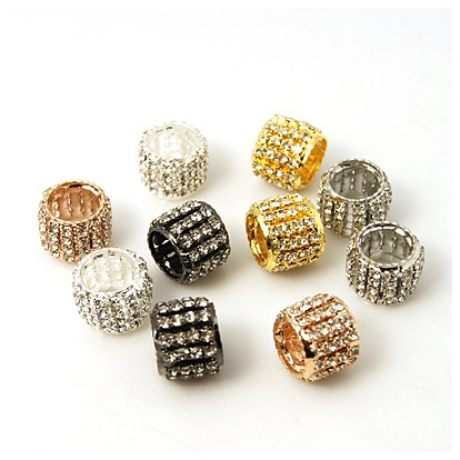 Brass Rhinestone Beads, Grade A, Column, 10x13mm, Hole: 7mm