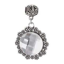 Alloy European Dangle Beads, Large Hole Pendants, with Faceted Glass, Half Round with Flower