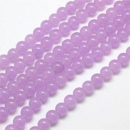 Natural Malaysia Jade Bead Strands, Round Dyed Beads-1