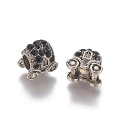Jet Antique Silver Plated Alloy European Beads, Large Hole Beads, with Rhinestone, Carriage, Jet, 11.5x12x8.5mm, Hole: 5mm