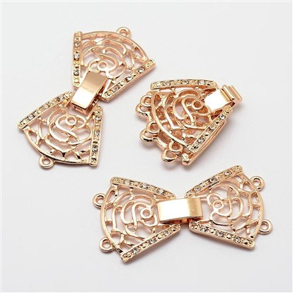 Alloy Rhinestone Watch Band Clasps, Fold Over Clasps, Flower-1