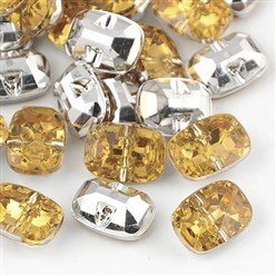 PaleGoldenrod Taiwan Acrylic Rhinestone Buttons, Faceted, 1-Hole, Rectangle, PaleGoldenrod, 30x21x10.5mm, Hole: 2mm