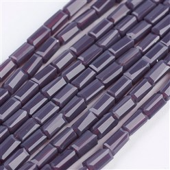 "DarkOrchid Opaque Glass Beads Strands, Faceted, Cuboid, DarkOrchid, 4~5x2~2.5x2~2.5mm, Hole: 0.5mm; about 100pcs/strand, 17.5~19""(44.5~48.5cm)"