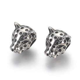 304 Stainless Steel Beads, Large Hole Beads, Leopard