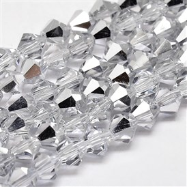 Imitate Austrian Crystal Electroplate Bicone Glass Faceted Bead Strands, Half Platinum Plated, Grade AA