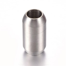 304 Stainless Steel Magnetic Clasps, Matte Surface, Oval
