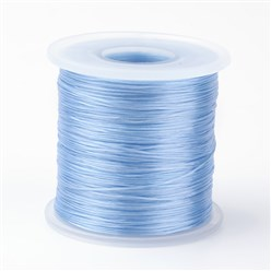 LightSkyBlue Japanese Flat Elastic Crystal String, Elastic Beading Thread, for Stretch Bracelet Making, LightSkyBlue, 0.5mm; about 300m/roll