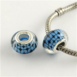 SkyBlue Large Hole Grid Pattern Acrylic European Beads, with Platinum Tone Brass Double Cores, Rondelle, SkyBlue, 14x9mm, Hole: 5mm