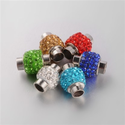 Column Polymer Clay Grade A Rhinestone Magnetic Clasps, with Platinum Tone Iron Findings, Nickel Free, 15~17x11~12mm, Hole: 6mm-1