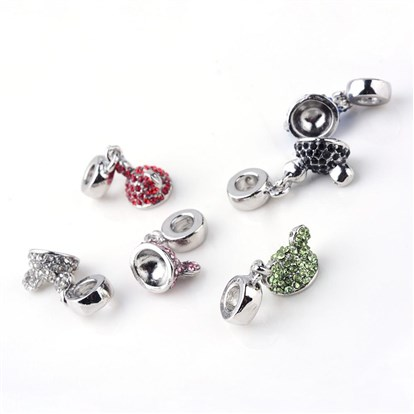 Alloy Rhinestone European Dangle Beads, Hat, Large Hole Beads, Platinum-1