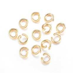 Golden 304 Stainless Steel Jump Rings, Open Jump Rings, Golden, 5x1mm