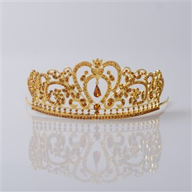 Adjustable Fashionable Wedding Crown, Alloy Hair Bands, Bridal Tiaras, with Rhinestone, Golden
