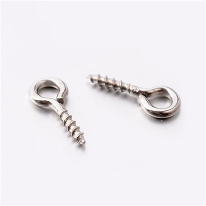 304 Stainless Steel Screw Eye Pin Bail Peg, 10x4x1mm, Hole: 2mm, Pin: 1mm-1