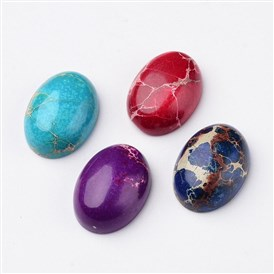 Natural Regalite/Imperial Jasper/Sea Sediment Jasper Cabochons, Dyed, Oval