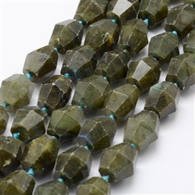 Natural Labradorite Beads Strands, Barrel, Faceted
