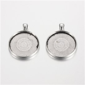 Flat Round Tibetan Style Alloy Pendant Cabochon Settings, Plain Edge Bezel Cups, Cadmium Free & Lead Free, Tray: 30mm; 42x33x4mm, Hole: 7x4mm; about 129pcs/1000g