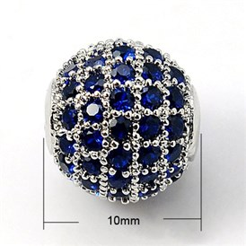 Brass Cubic Zirconia Beads, Round, 10mm, Hole: 1.5mm