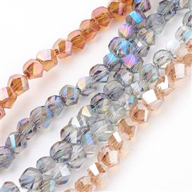Electroplated Glass Bead Strands, Rainbow Plated, Faceted, Twist
