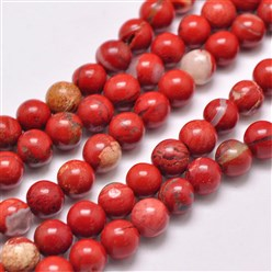 Red Natural Red Jasper Beads Strands, Round, Grade AB, Red, 4mm, Hole: 1mm; about 95pcs/strand, 15.5""