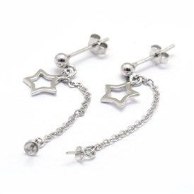 Sterling Silver Stud Earring Findings, with Star Pendant and Chain