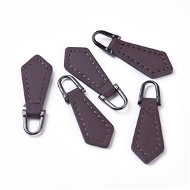 PU Leather Zipper Puller, Garment Accessories, with Alloy Findings, Rhombus