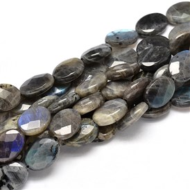 Flat Oval Natural Labradorite Bead Strands, Faceted