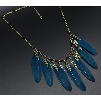 Alloy Bib Necklaces, with Feather Pendants & Leaf Pendants-1