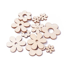 Wooden Cabochons, Laser Cut Wood Shapes, Flower
